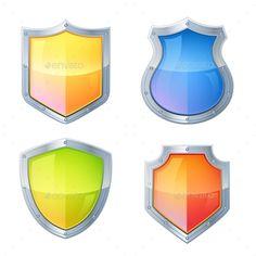 Shield Icons Set (Vector EPS, CS, advertisement, album, arms, banner, bright…