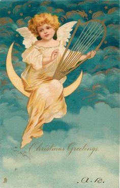 CHRISTMAS GREETINGS angel sits on moon playing harp - TuckDB