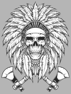 the second artwork of Indian Skull Indian Chief Tattoo, Indian Headdress Tattoo, Indian Skull Tattoos, Dream Tattoos, Body Art Tattoos, Tattoo Drawings, Sleeve Tattoos, Native American Tattoos, Native Tattoos