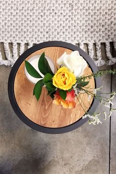 DIY Upcycled Side Tables  With a few tools, a little bit of time and some time, these side tables were transformed.