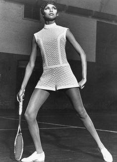 Queen Club - Teddy Linling Ltd. London College of Fashion Woolmark Company. 1968 - Zooming into the space age, Tinling designs this polo-necked tennis jump-suit in a white and blue fabric of Orlon acrylic fibre bonded onto nylon. Style no -750