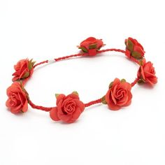 Mudd Rose Buds Braided Headpiece (Red) ($9.60) ❤ liked on Polyvore
