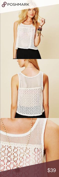 NWT {Free People} Novelty Swing Tank Crochet lace crop tank from Free People. Size Small true to size. 100% cotton. Free People Tops Tank Tops