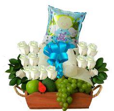 Arreglo Floral Azul - $150.000 [25 Rosas blancas y Globo.]