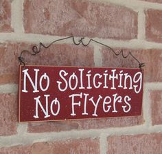 NO SOLICITING No Flyers SIGN (barn red) for home