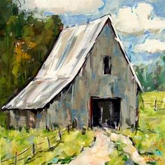 """Daily Paintworks - """"Gray Barn"""" - Original Fine Art for Sale - © Gina Brown"""