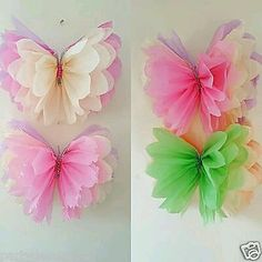 hanging girls birthday Party room decorations Tissue paper butterflys in Home, Furniture & DIY, Celebrations & Occasions, Party Supplies Butterfly Decorations, Butterfly Crafts, Flower Crafts, Diy Flowers, Room Decorations, Butterfly Birthday Party, Girl Birthday, Birthday Parties, Tissue Paper Flowers
