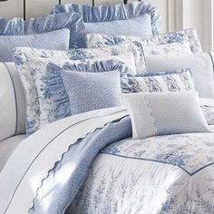 Shop for Laura Ashley Sophia Cotton Comforter Set. Blue Rooms, White Bedroom, Dream Bedroom, Blue And White Bedding, Draps Design, Luxury Bedding Sets, White Decor, Beautiful Bedrooms, Bed Spreads