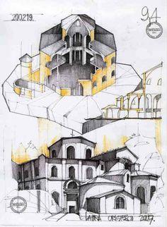 San Vitale by xLuluHeartx on DeviantArt Architecture Concept Drawings, Architecture Sketchbook, Historical Architecture, Architecture Details, Modern Architecture, Pre Romanesque, Ottonian, Carolingian, Perspective Art
