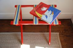 Luggage Rack REdesign - Red - Awning Stripe - Guest Room by juliehillREdesigns on Etsy