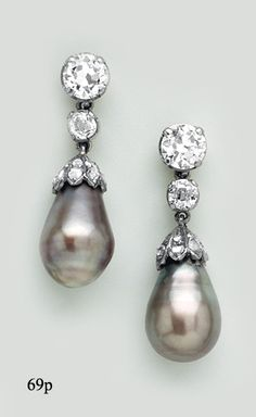 Natural Black Pearl, Diamond, Silver and Gold Drop Earrings
