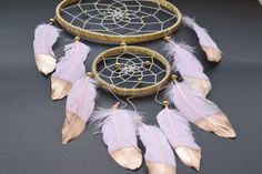 Dream catcher Large Dreamcatcher Gold and Pink by BlueDreamcatcher