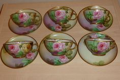 Richard Ginori tea set,service 6 cups and 6 saucers,hand painted roses 1880-1920
