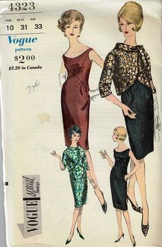1960s Cocktail Dress with Jacket Pattern ~ Vogue Special #4323