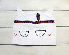 Kocia czapka z uszami,dla dorosłych,biała,wojownik - ARTandCAT - Dzianina