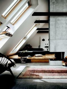beautiful modern loft design with massive factory windows. exposed beams and concrete. home design. Living Room Designs, Living Spaces, Living Rooms, Architecture Design, Architecture Interiors, Beautiful Architecture, Modern Loft, Home Modern, Interior Exterior