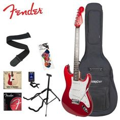 "Fender Starcaster Strat Electric Guitar, Red. Maple Neck (c-shape) Rosewood Fingerboard (9.5""rad). 1 Ply White Pickguard. Includes: Stand, Strap, 10-Watt Amp, 10ft Cable, Tuner, Strings, 12 Pick Sampler, D'Addario/GoDpsMusic Instructional DVD and Gig Bag. FREE DELIVERY $267.98."