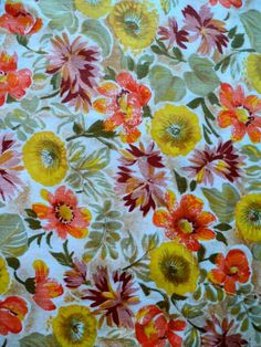 Bright Shades of Yellow, Orange and Brown Flower Pattern Fabric -1 yard - More Available by DocksideDesignsEtc on Etsy