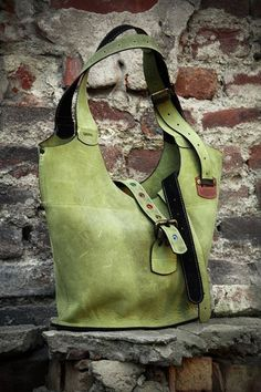Green leather crossbody/shoulder zippered oversized  by ladybuq