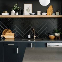 Inspiring Charming Black Backsplash Kitchen Design Ideas That Look More Cool Black backsplash design in your home kitchen will certainly produce a cool decoration. Black or dark colors are colors that have become a favorite col. Black Granite Countertops, Black Backsplash, Black Kitchens, Home Kitchens, Kitchen Black, Ikea Black, Kitchen Interior, Kitchen Decor, Kitchen Chairs