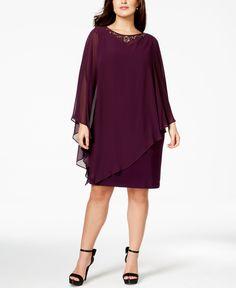 Sl Fashions Plus Size Embellished Flutter Capelet Cocktail Dress