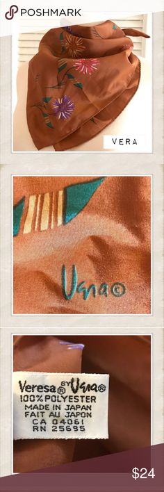 "Vintage Scarf, Veresa by Vera Square Scarf Vintage Scarf, Veresa by Vera Square Scarf         Beautiful brown square scarf by Vera. Made in Japan & measures 17""x17"". Beautiful shape. :) Vera Neumann Accessories Scarves & Wraps"