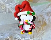 Handcrafted Polymer Clay Penguin Ornament