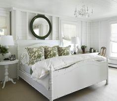 bamboo bed and mirror, walls