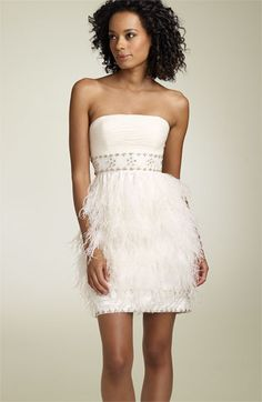 Feathers! To die for.  Sue Wong strapless dress with feathers.  Wedding reception dress idea.