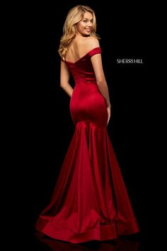 Sherri Hill - 52885 Off-Shoulder Stretch Satin Mermaid Dress Gala Dresses, Event Dresses, Pageant Dresses, Satin Dresses, Long Mermaid Dress, Mermaid Dresses, Mermaid Skirt, Sherri Hill Prom Dresses, Prom Dress Stores