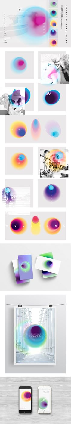 Vibrant gradient blurs – Textures – This unique colorful set of 30 vibrant abstract spots and flecks will be ideal for contemporary designs, they can be used in a minimalistic way, as overlays on photos or. Web Design, Layout Design, Design Styles, Poster Art, Design Poster, Poster Designs, Blur, Design Package, Creative Typography