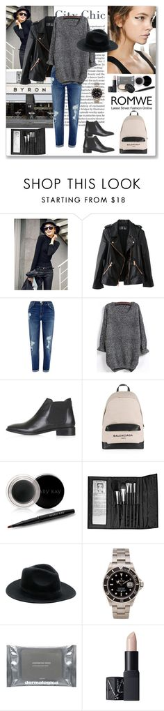 """""""Knit Black Sweater"""" by ludmyla-stoyan ❤ liked on Polyvore featuring BYRON, Rosegold, River Island, Topshop, Balenciaga, Mary Kay, Sephora Collection, Rolex, Dermalogica and NARS Cosmetics"""