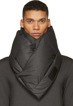 MA Julius Black Coated Silk & Nylon Snood