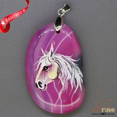 DELIGHTFUL HAND PAINTED HORSE GEMSTONE AGATE DIY NECKLACE PENDANT BEAD ZL808913 #ZL #Pendant