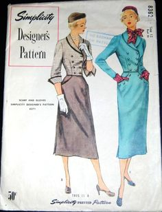 Vintage Original Simplicity Designer's 50's Two Piece Dress Pattern No. 8362 3.76+2.32 3bds 11/9/14
