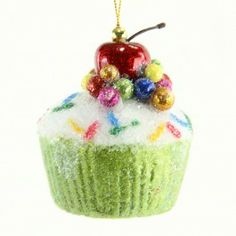 Sugared cupcake ornament