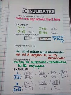 Math = Love: Sketching Inverses and Finding Conjugates Math Teacher, Math Classroom, Teaching Math, Teacher Stuff, Math Notes, Maths Algebra, Secondary Math, Math Lessons, Math Tips