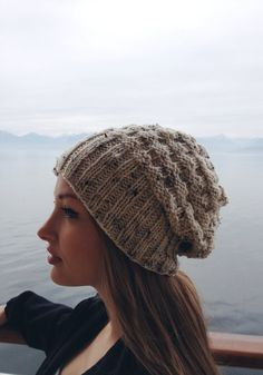 Etsy listing at http://www.etsy.com/listing/156849693/slouchy-knit-beanie-heathered-off-white
