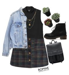 """#Romwe"" by credentovideos ❤ liked on Polyvore featuring Monki, Alicia Marilyn Designs, Levi's and vintage"