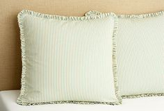 Ticking Stripe Euro, Spa ....    love the tight pleated ruffle....  French Laundry Home