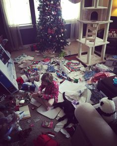 You know it's been a good Christmas morning when your living room is destroyed by the time noon rolls around. by katwoman1947