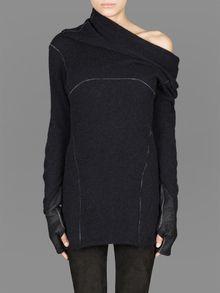 10SEI0OTTO knitted jumper with shawl collar and leather glove cuffs #10sei0otto