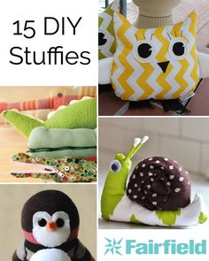 A round up of 15 totally adorable DIY Stuffies for your inspiration. Make one or make them all. Our Fiberfill makes the perfect filling for each one.