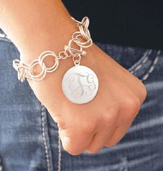 Engraved Sterling Silver Plate Disc Double Link Monogrammed Hampton Charm Bracelet with Toggle - monogram or name on Etsy, $45.00