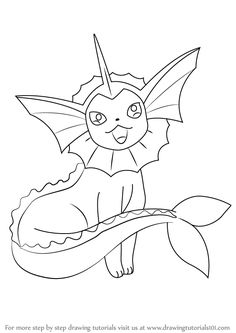 Step by Step How to Draw Vaporeon from Pokemon : DrawingTutorials101.com