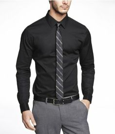 374030386a Black shirt. Gray tie. Gray pants. Formal wear. Groomsmen ...