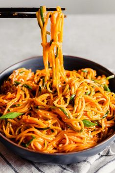 Crave-worthy asian noodles with a silky smooth gochujang sauce. They're easy to make, have a punchy heat, and are made with both rice noodles and zoodles. Although you can choose one or the other if you prefer! Asian Noodle Recipes, Asian Recipes, Ethnic Recipes, Indonesian Recipes, Orange Recipes, Vegetarian Recipes, Cooking Recipes, Healthy Recipes, Cooking Tips