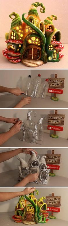 DIY Enchanted Fairy House Lamp Using Coke Plastic Bottles.