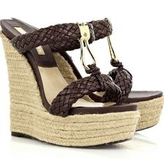 dd3039024698 Michael Kors Leather braided espadrille wedges Michael Kors sandals have a  gold designer-stamped detail at front and simply slip on.