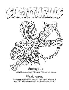 zodiac star sign art print sagittarius astrology print coloring page novelty